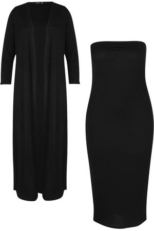 Boohoo Plus Bandeau Dress & Duster Co-ord