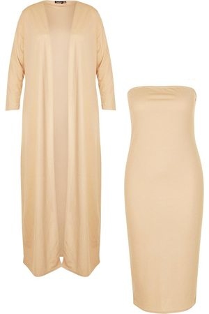 Boohoo Plus Bandeau Dress And Duster