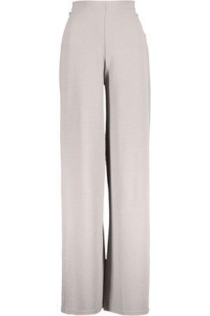 Boohoo High Waist Basic Crepe Wide Leg Trousers