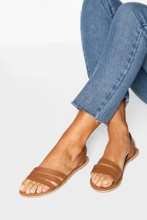 Boohoo Wide Fit Leather 3 Strap Sandals