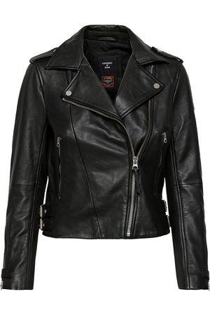 Superdry Dame Skinnjakker - Classic Leather Biker Skinnjakke Skinnjakke