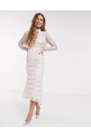 ASOS Long sleeve lace peplum midi dress with lace up detail in light pink-Multi