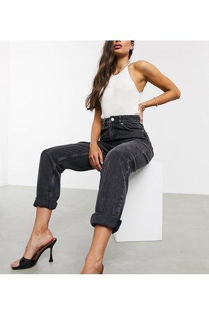 ASOS ASOS DESIGN Tall high rise 'slouchy' mom jeans in washed back-Black