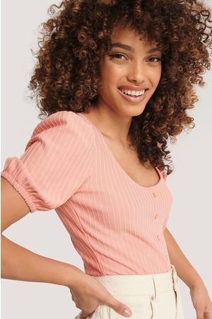 NA-KD Ribbed Puff Sleeve Button Top