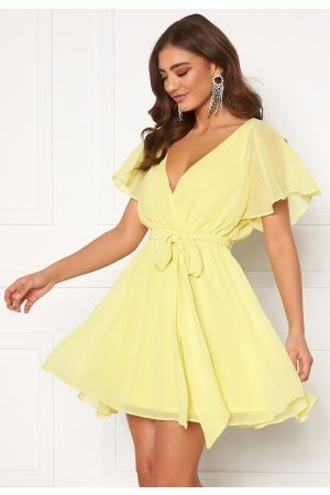 Goddiva Dame Hverdagskjoler - Flutter Skater Dress Soft Lemon XL (UK16)