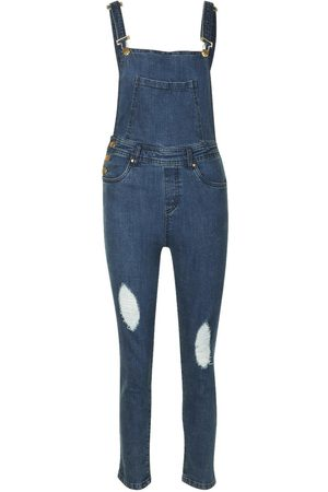 Boohoo Slim Fit Distressed Denim Dungaree