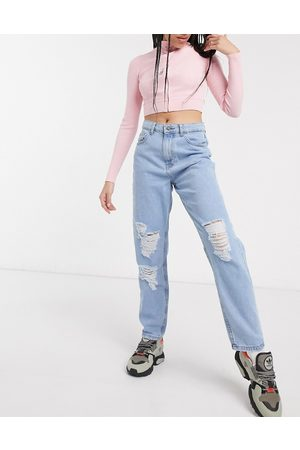 Noisy May Destroyed mom jeans in light wash-Blue
