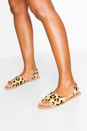 Boohoo Leather Leopard Print Sandals