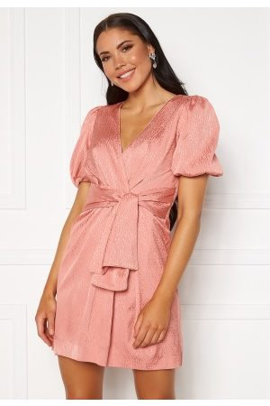 FOREVER NEW Ellie Jacquard Mini Dress Pastel Salmon 34