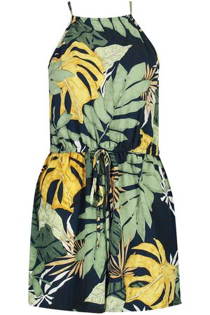 Boohoo High Neck Tropical Print Playsuit