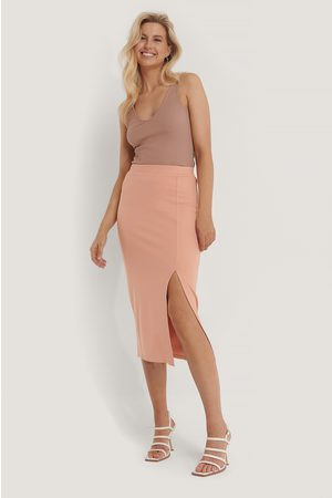 NA-KD Dame Midiskjørt - Side Slit Jersey Skirt