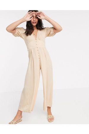 ASOS DESIGN Crinkle tea jumpsuit with puff sleeve in stone-Multi