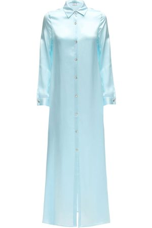 AYA MUSE Dame Hverdagskjoler - Sicily Maxi Silk Button Down Shirt Dress