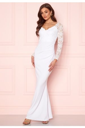 Goddiva Long Sleeve Lace Dress White L (UK14)