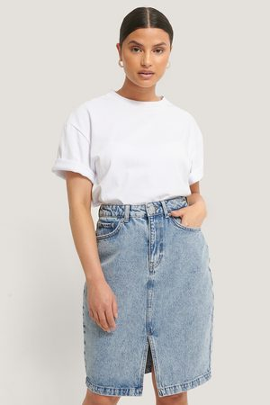 NA-KD Dame Miniskjørt - Denim Front Slit Skirt