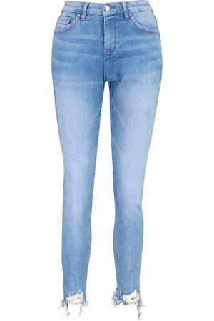Boohoo High Waist Frayed Hem Stretch Skinny Jean