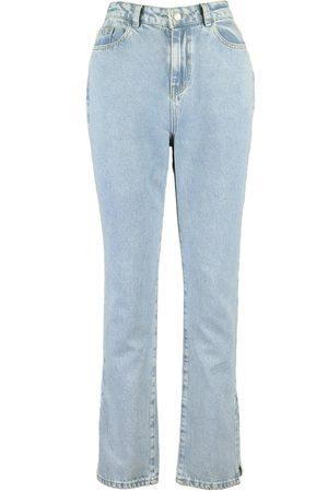 Boohoo Petite Mid Wash Split Hem Jeans