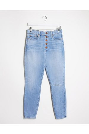 ALICE+OLIVIA Dame High waist - Jeans high rise skinny jeans with exposed buttons in blue