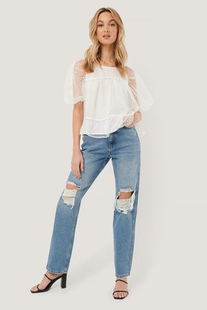 NA-KD Dame High waist - Distressed Straight Fit Jeans