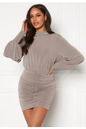 John Zack Long Sleeve Rouched Mini Dress Mink M (UK12)