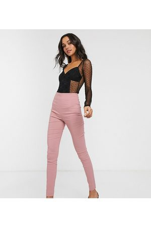 ASOS ASOS DESIGN Tall high waist trousers in skinny fit in pink