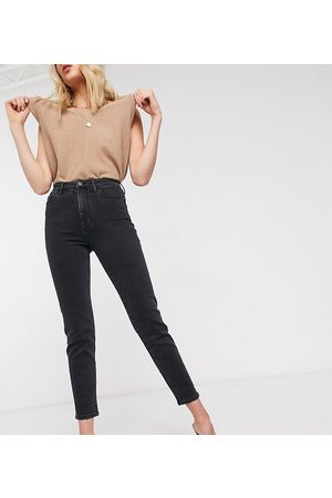 Stradivarius Dame High waist - Tall slim mom jean with stretch in black