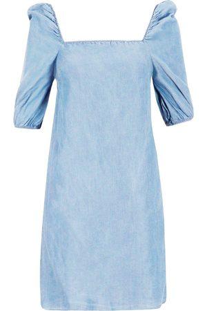 Boohoo Chambray Shirred Back Shift Dress