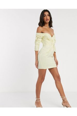 ASOS Structured off shoulder twist detail mini dress with button detail-Yellow