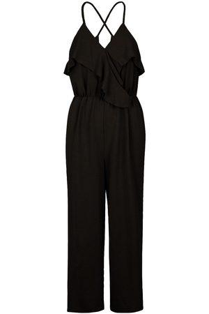 Boohoo Linen Mix Ruffle Cullotte Jumpsuit