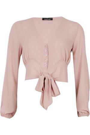 Boohoo Woven Button Through Tie Blouse