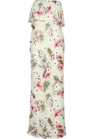 Boohoo Petite Palm Bandeau Maxi Dress