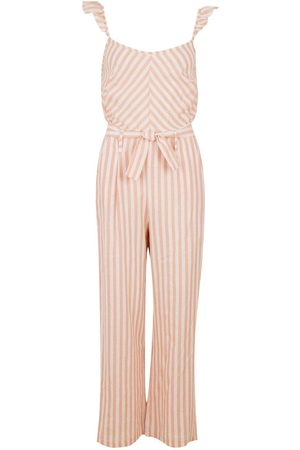 Boohoo Linen Mix Stripe Ruffle Jumpsuit