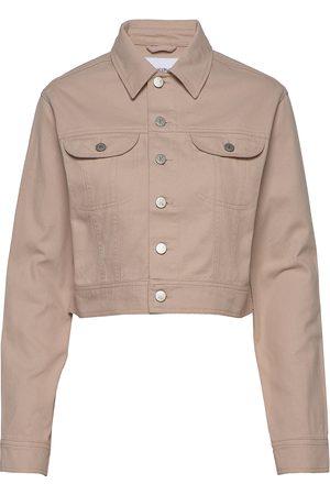 Calvin Klein Cropped Twill Jacket Dongerijakke Denimjakke Beige