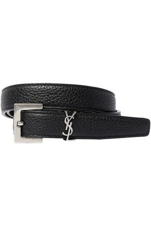 Saint Laurent 20mm Monogram Grained Leather Belt