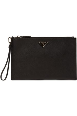Prada Logo Saffiano Leather Pouch