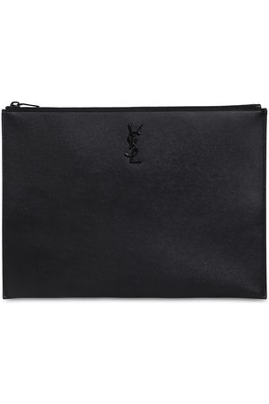 Saint Laurent Leather Grain Logo Pouch