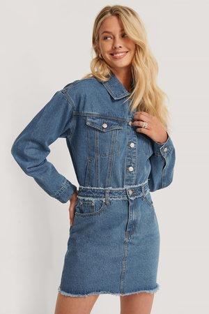 NA-KD Dame Miniskjørt - Fringed Denim Mini Skirt