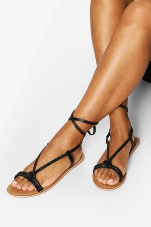 Boohoo Leather Knot Detail Wrap Strap Sandals