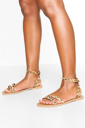 Boohoo Wide Fit Leather 2 Part Sandals