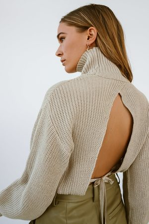 NA-KD Dame Pologensere - Open Back Knit Sweater