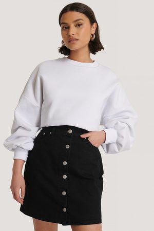 NA-KD Dame Skjørt - A-line Buttoned Denim Skirt