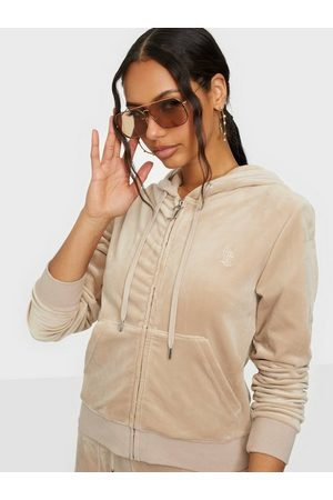Juicy Couture Robertson Classic Velour Zip Trough Hoodie Taupe
