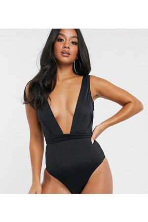 ASOS ASOS DESIGN recycled petite glam belted swimsuit in black