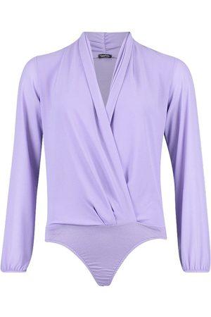 Boohoo Drape Chiffon Long Sleeve Woven Bodysuit