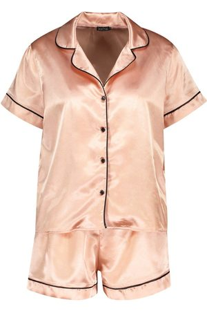 Boohoo Satin PJ Short Set with Contrast Piping