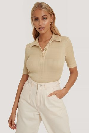 NA-KD Ribbed Gold Button Top