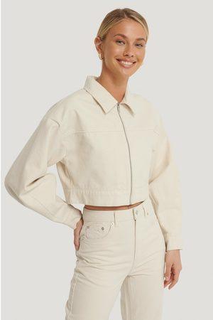 NA-KD Dame Denimjakker - Cropped Zipped Denim Jacket