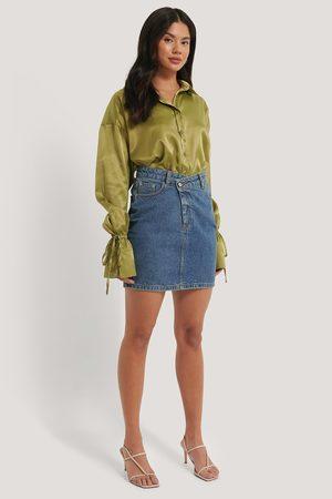 NA-KD Dame Skjørt - Organic Cotton Asymmetric Denim Skirt