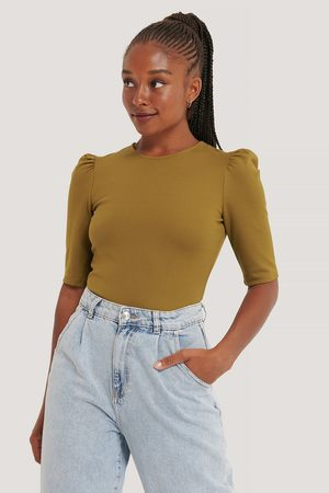 NA-KD Round Neck Puff Sleeve Top