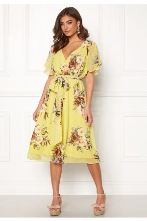 Goddiva Flutter Floral Midi Dress Soft Lemon S (UK10)